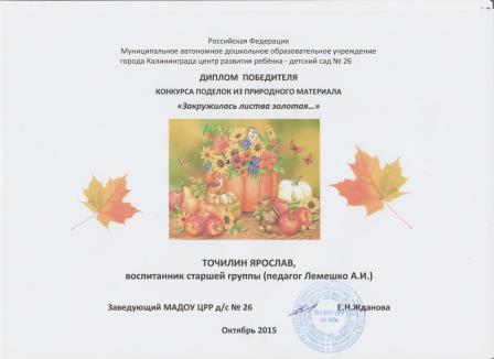 Диплом за осенние поделки-15 г.